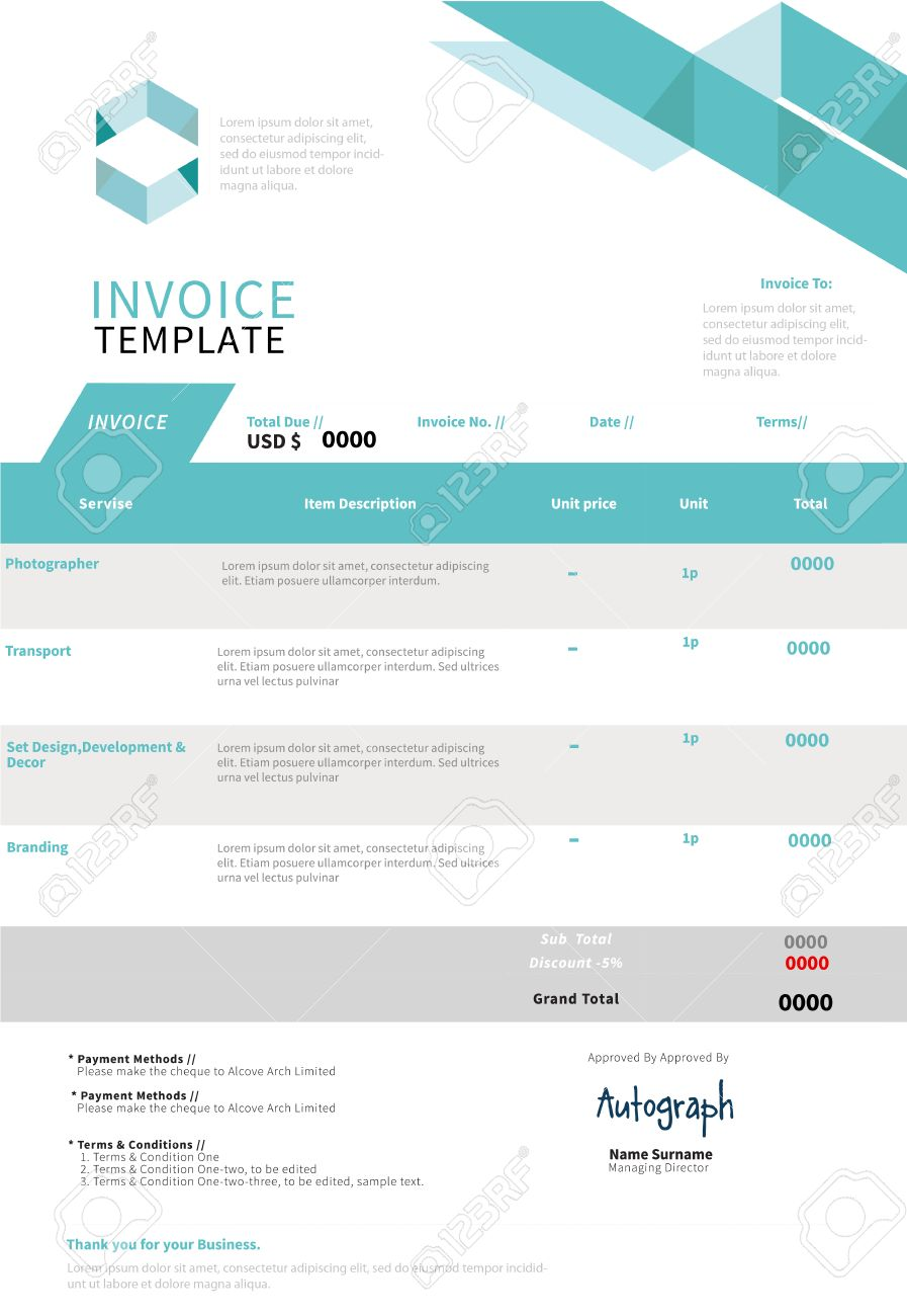 invoice, template design royalty free cliparts, vectors, and stock, Invoice examples