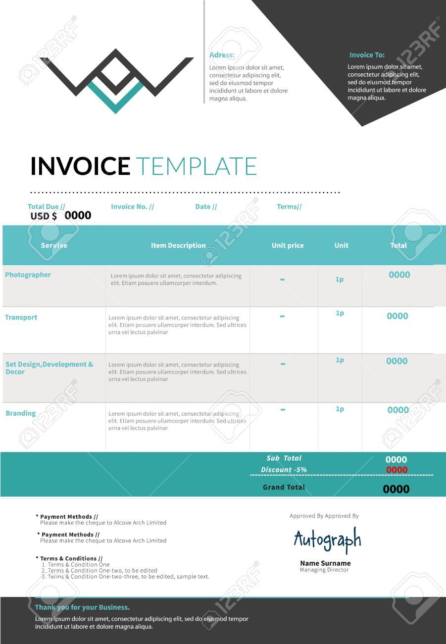 blue invoice template design layout royalty cliparts vectors blue invoice template design layout stock vector 46490306