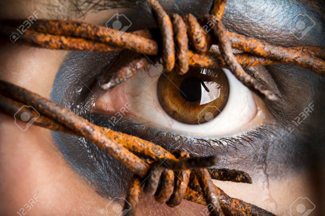 Eye and tears with barbed wire Stock Photo - 18633946
