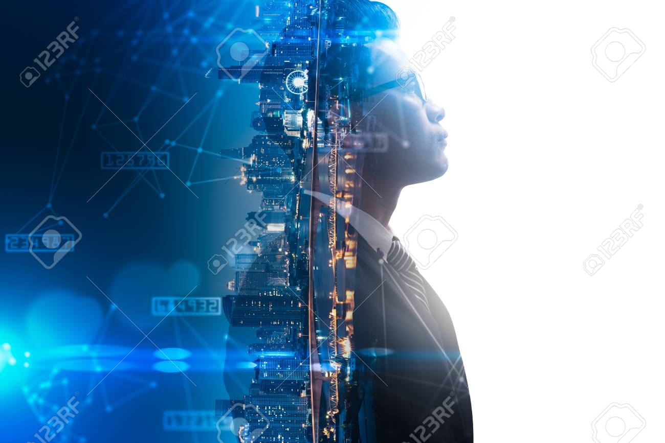 The double exposure image of the businessman thinking overlay with cityscape image and futuristic hologram. The concept of modern life, business, city life and internet of things - 111182205