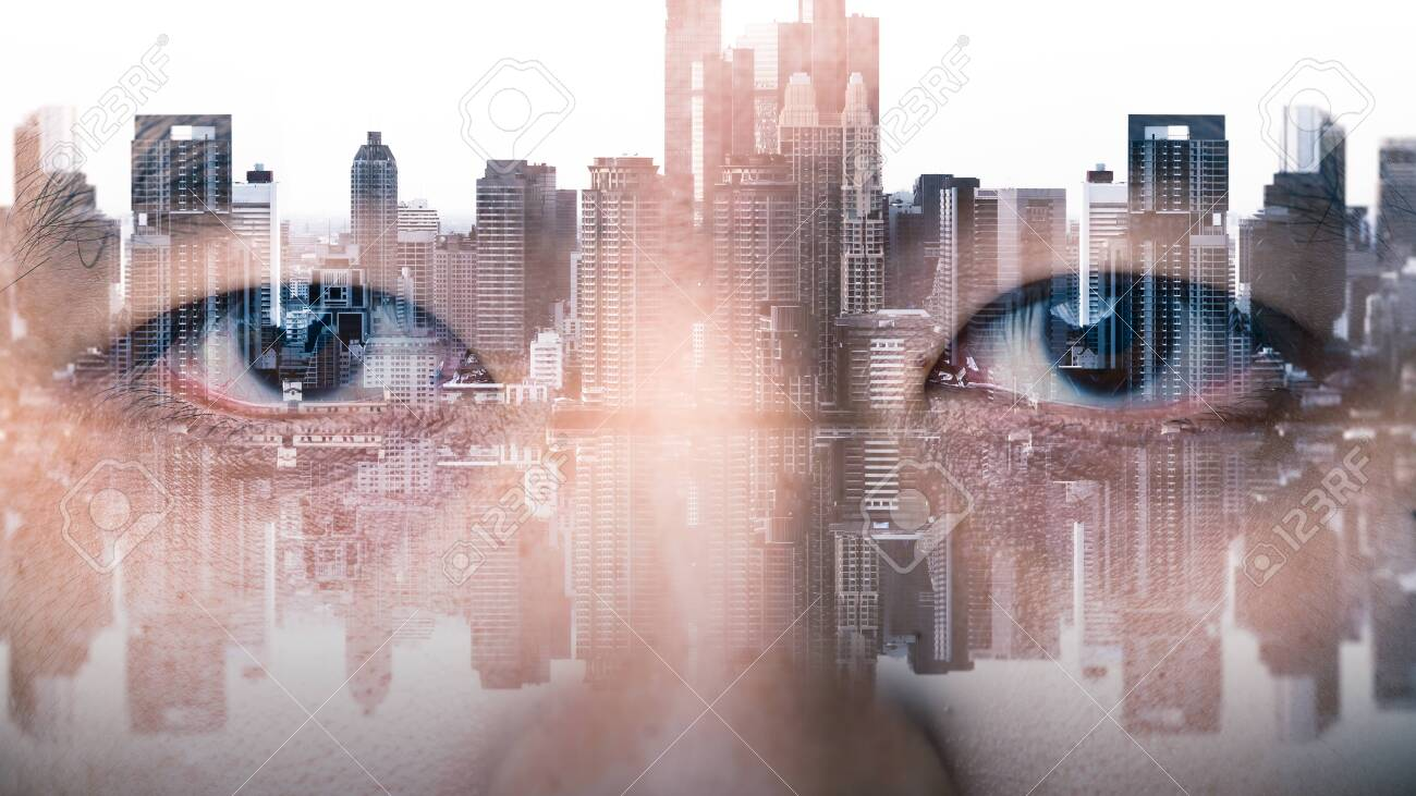 The double exposure image of the businessman's eye overlay with cityscape image. The concept of modern life, futuristic, technology, iris scanner and internet of things. - 138323244