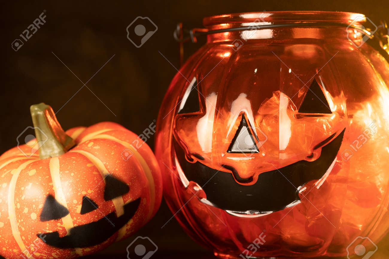 the Halloween pumpkin laying on the black color backdrop. the concept of Halloween, festival, autumn and celebration - 156628937