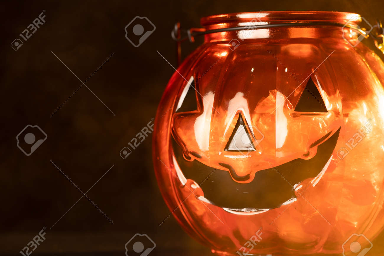 the Halloween pumpkin laying on the black color backdrop. the concept of Halloween, festival, autumn and celebration - 156628665