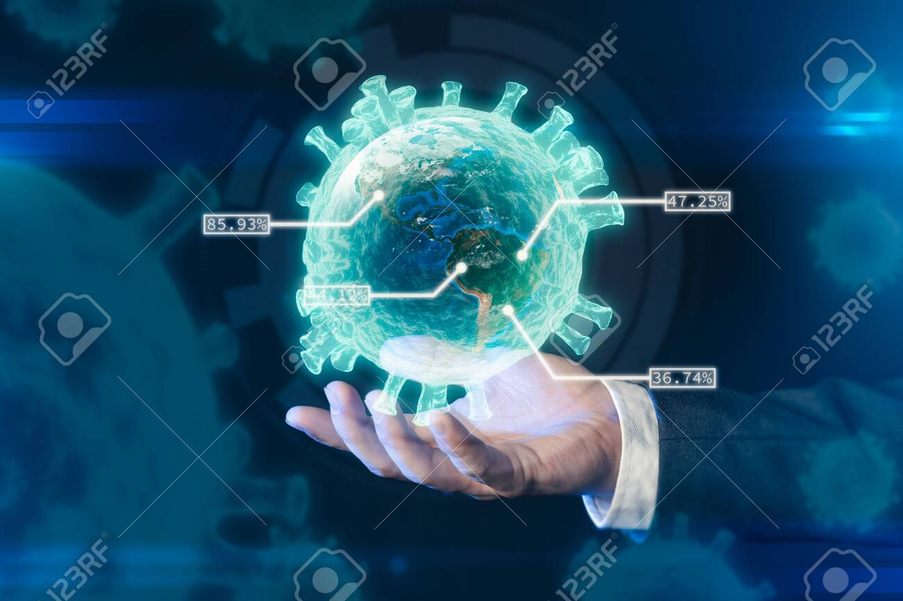 the scientists are holding the coronavirus's hologram the laboratory. the concept of coronavirus, vaccination, laboratory and medical. - 158437892