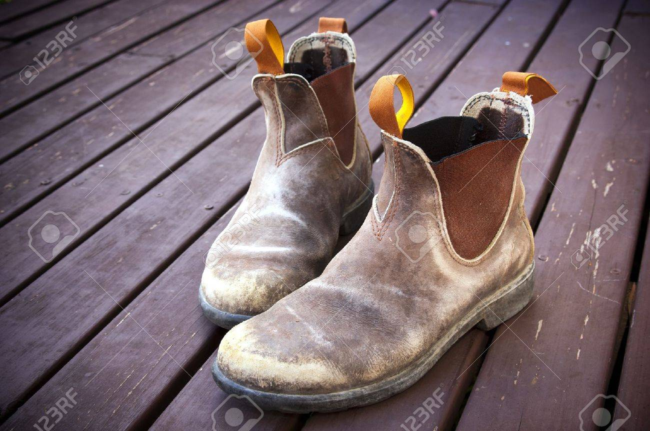 good looking size 40 sneakers A well worn pair of classic Australian work boots