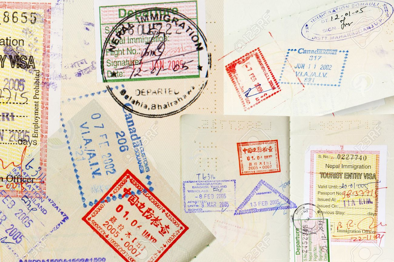 Passport stamps background with various countries Stock Photo - 9322096