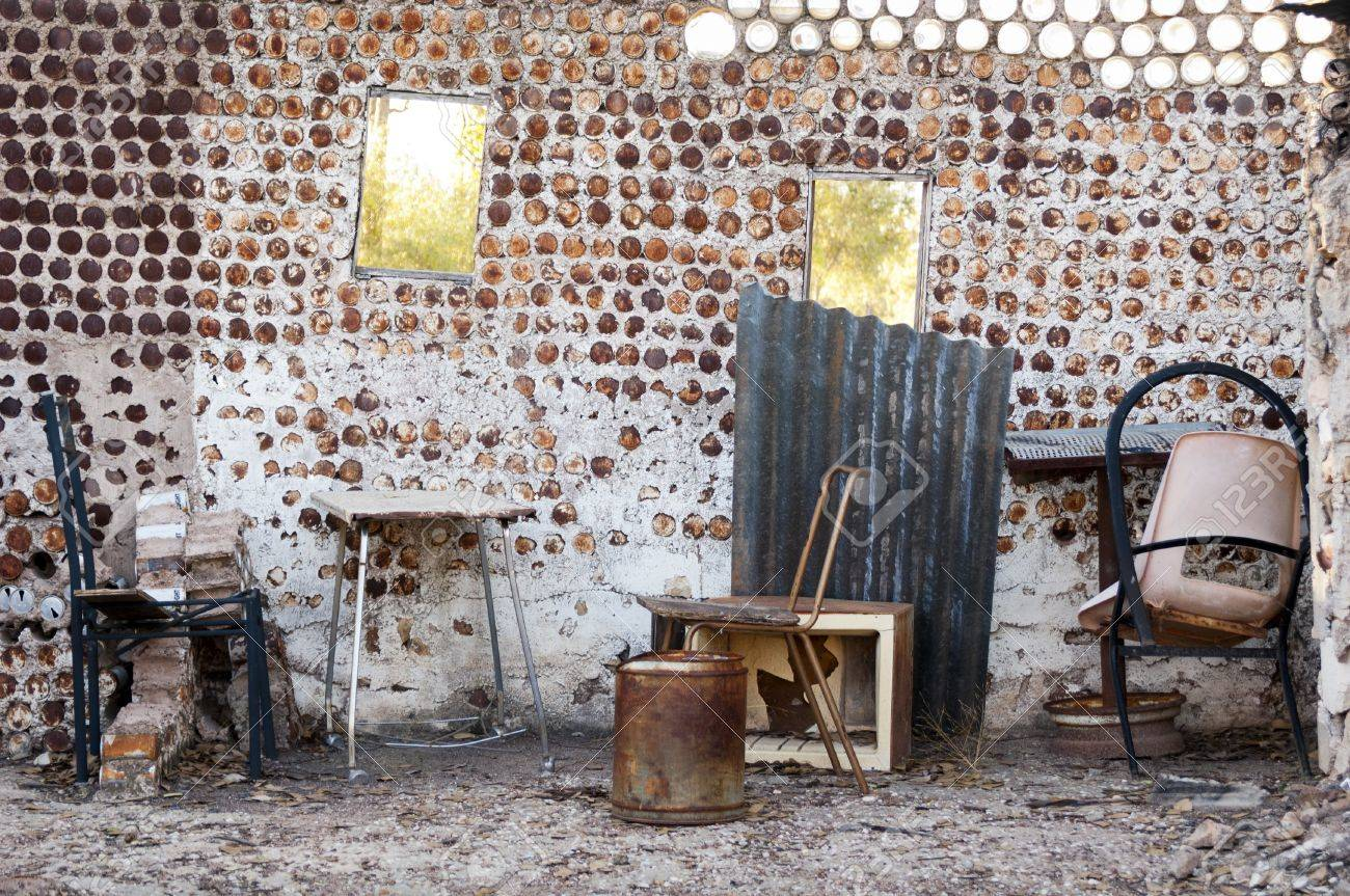 Interior of an old home built from tin cans with old furniture Stock Photo - 14187821