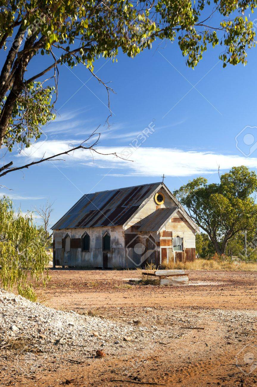 Old church in outback rural Australia under a blue sky Stock Photo - 14187921