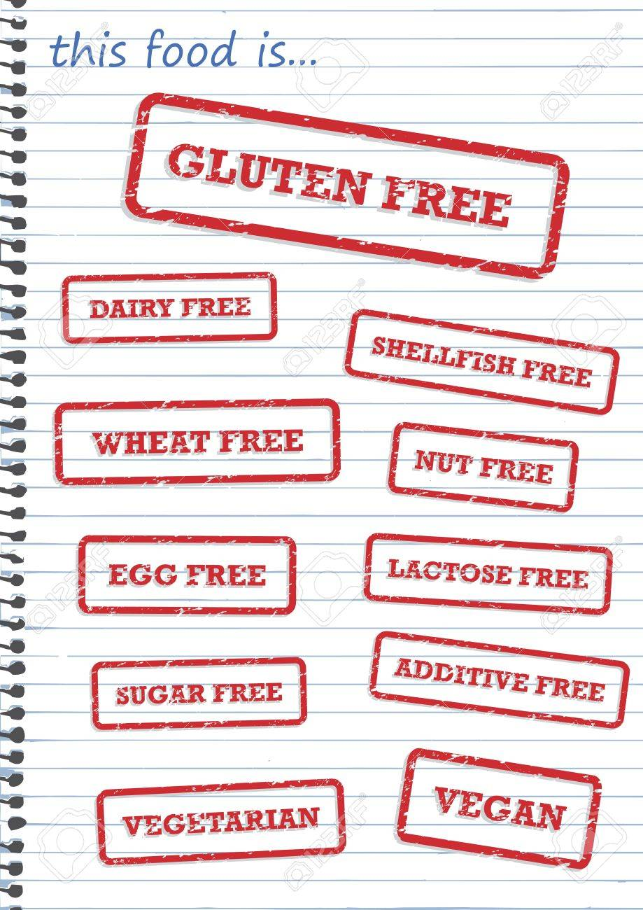 Rubber stamp of allergy products, such as gluten, dairy and sugar free Stock Vector - 14251532