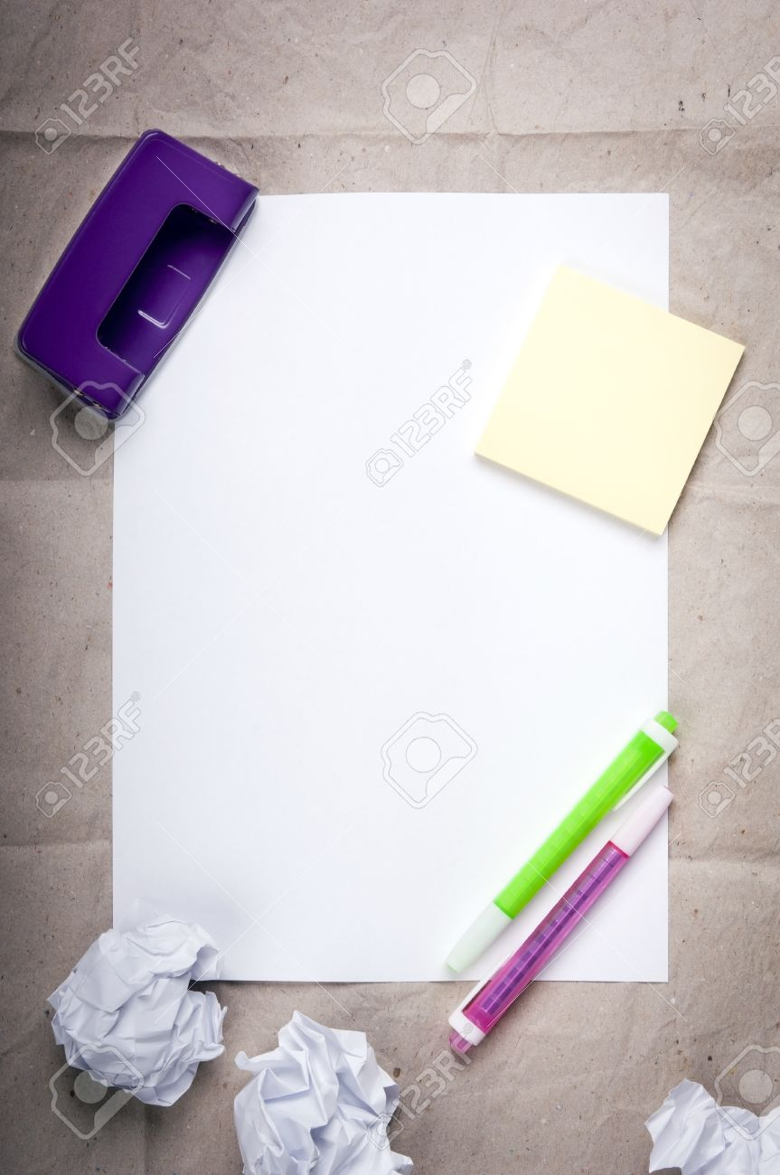 School student background of white paper with colorful highlighters and crumpled up paper balls Stock Photo - 14437741