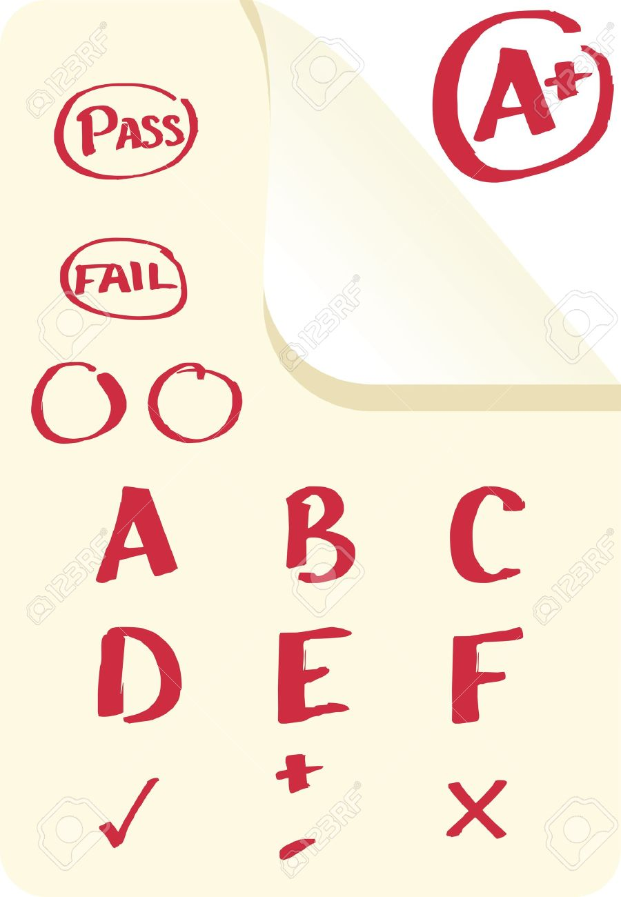 School grades and examination marks in A , B  format as well as pass and fail Stock Vector - 14546520