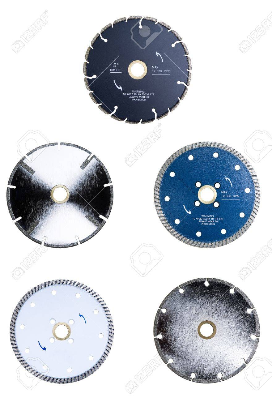 Collection of isolated diamond tipped saw blades Stock Photo - 16403625