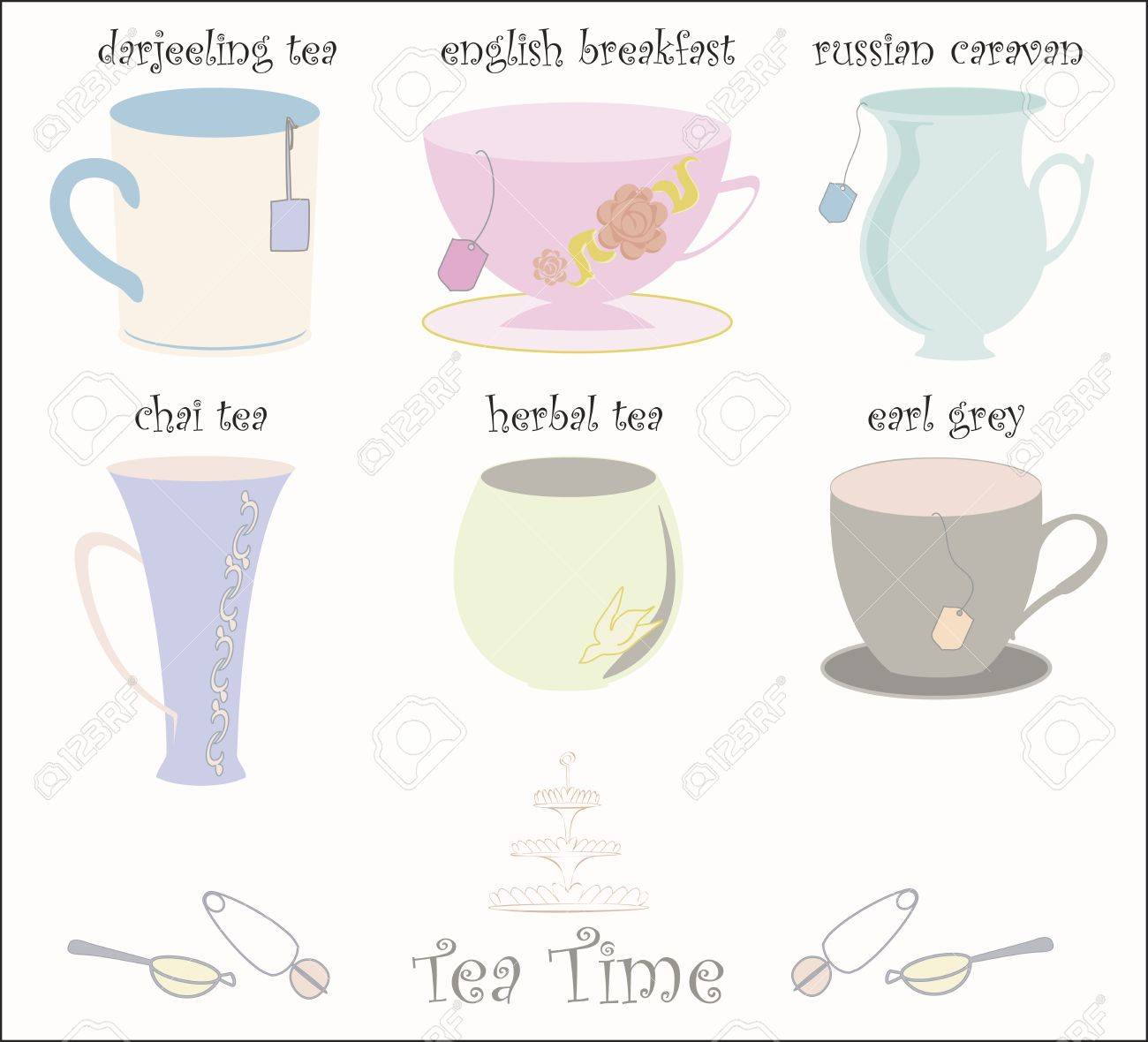 Collection of 6 teacups Stock Vector - 16465051