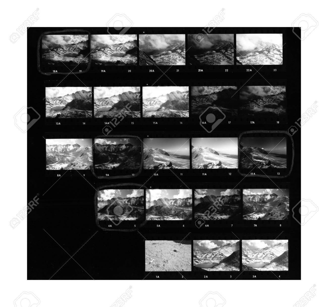 Contact sheet of old black and white film negatives on traditional photo paper stock photo