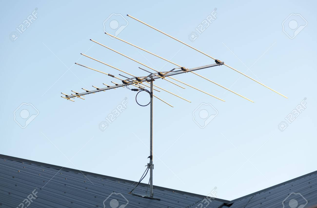 Digital Tv Aerial Or Antenna On Top Of A House Stock Photo Picture 33486758