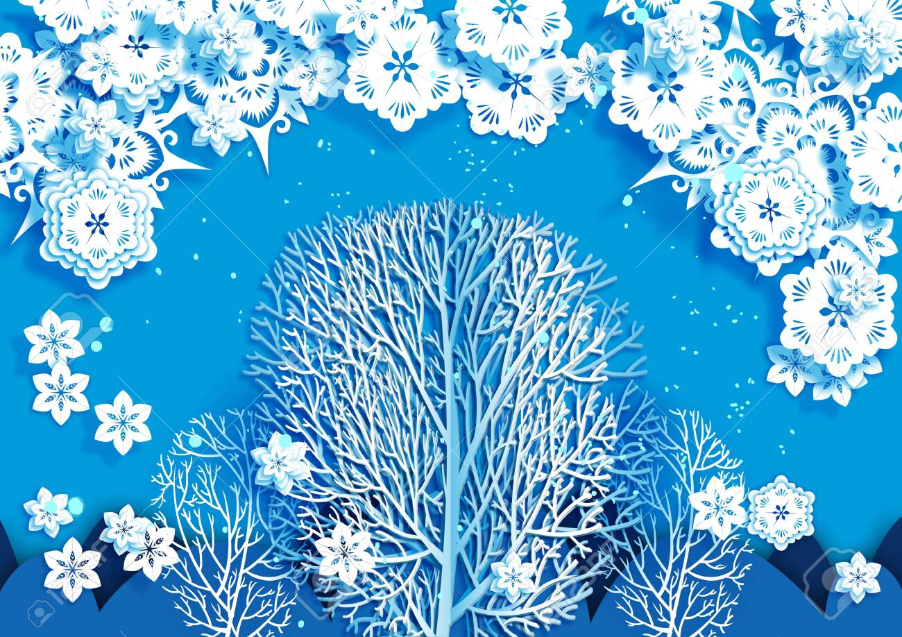 Blue Background White Outline Of A Tree And White Abstract Flowers
