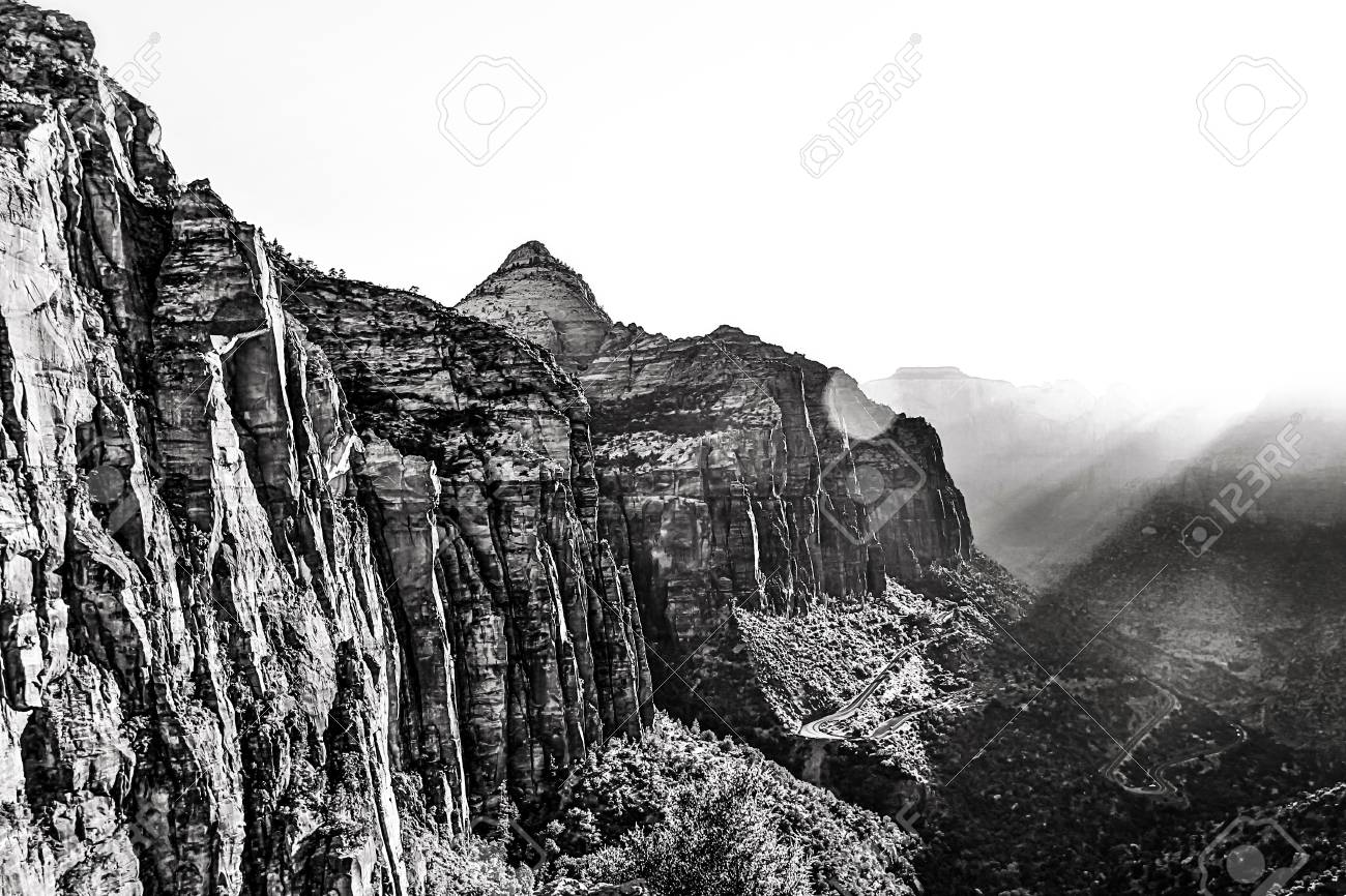 Beautiful view from zion national parkusa in black and white stock photo 46631090