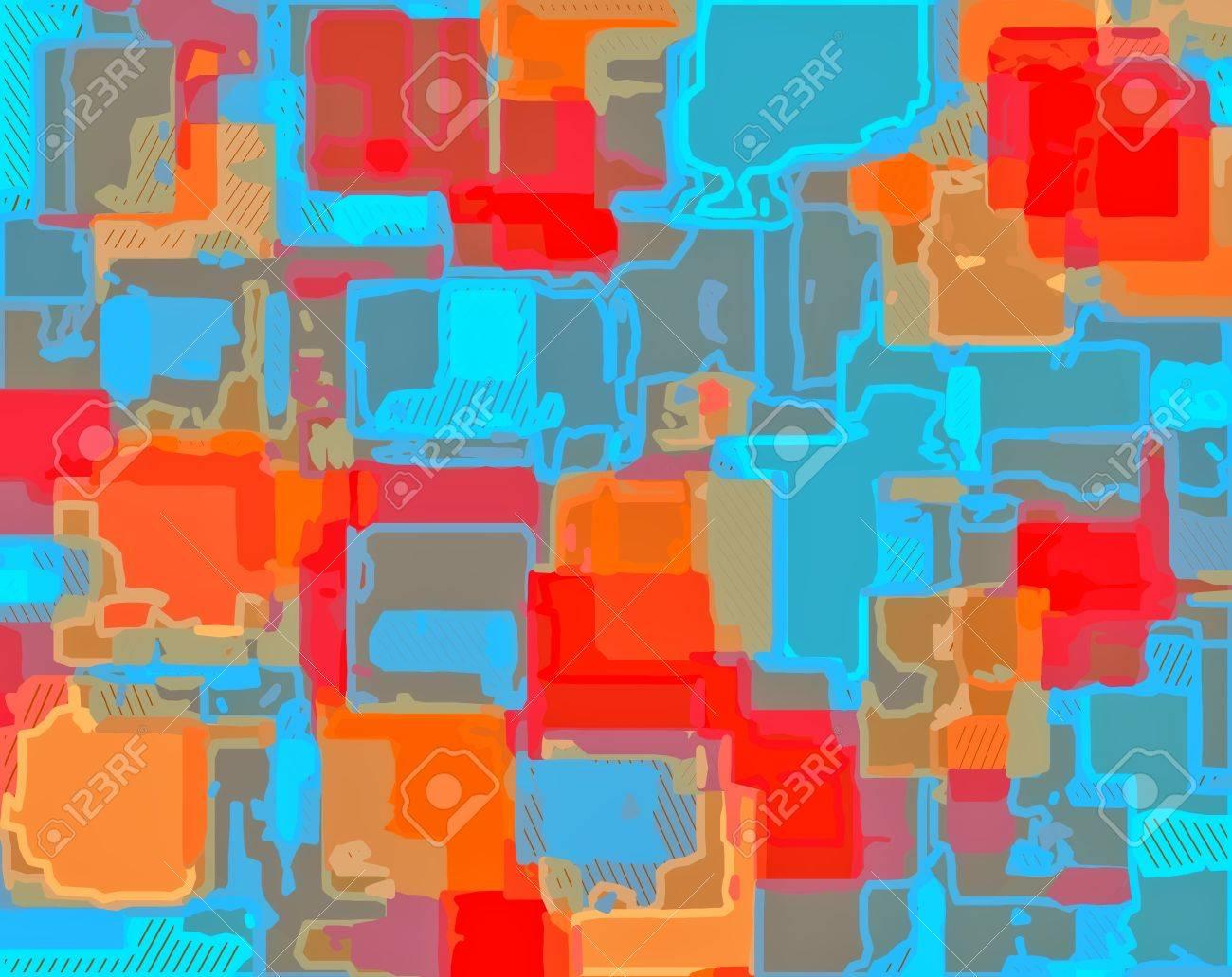 Rouge Bleu Orange Dessin Peinture Résumé Fond Banque Dimages