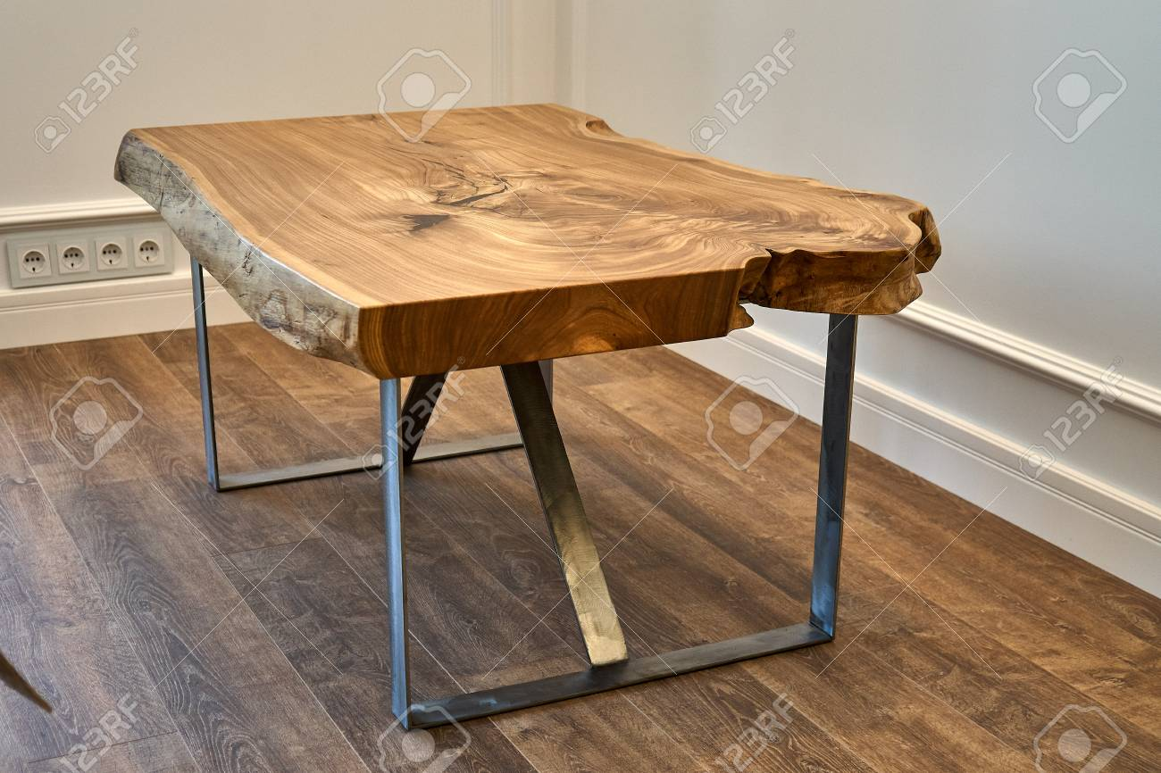 Woodworking And Carpentry Production Elm Slab Coffee Table Close