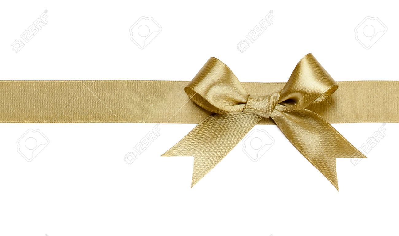 gold ribbon with bow isolated on white background stock photo