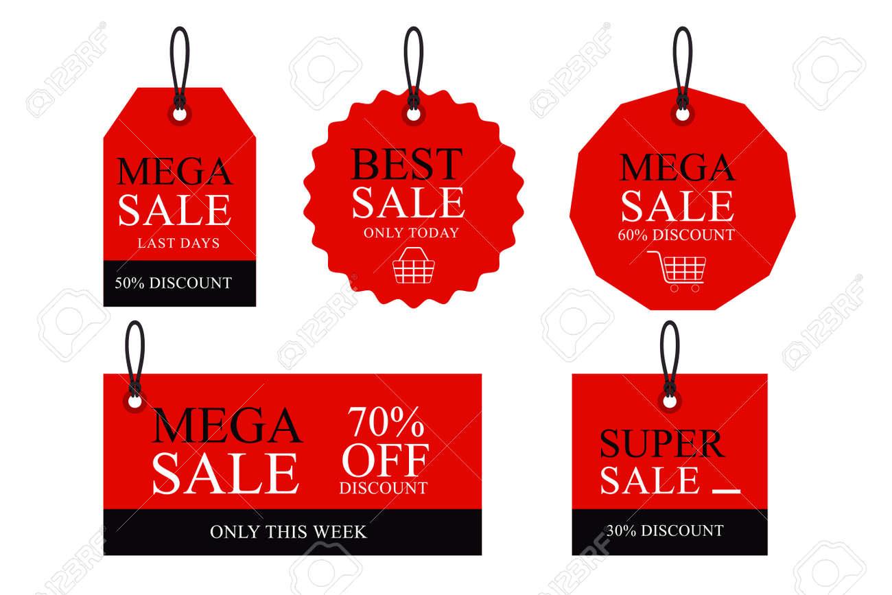 Discount paper tag labels set vector - 166825317