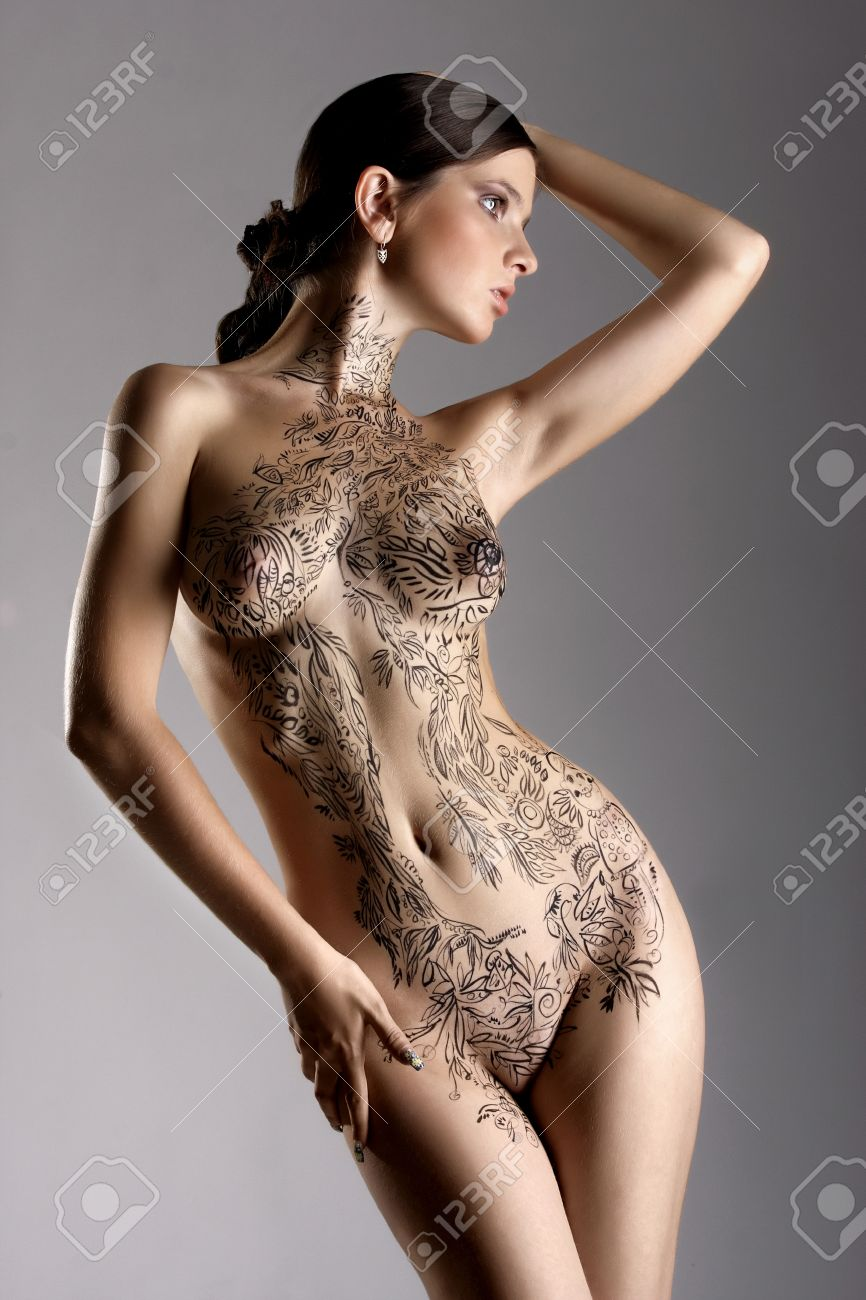 Beautiful Sexy Glamorous Girl With Drawings On The Body Painte