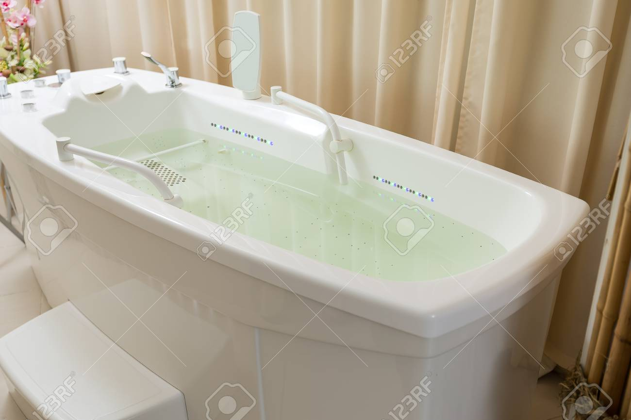 Empty Jacuzzi, Tub Filled With Water In The Spa, Backlit Stock Photo ...