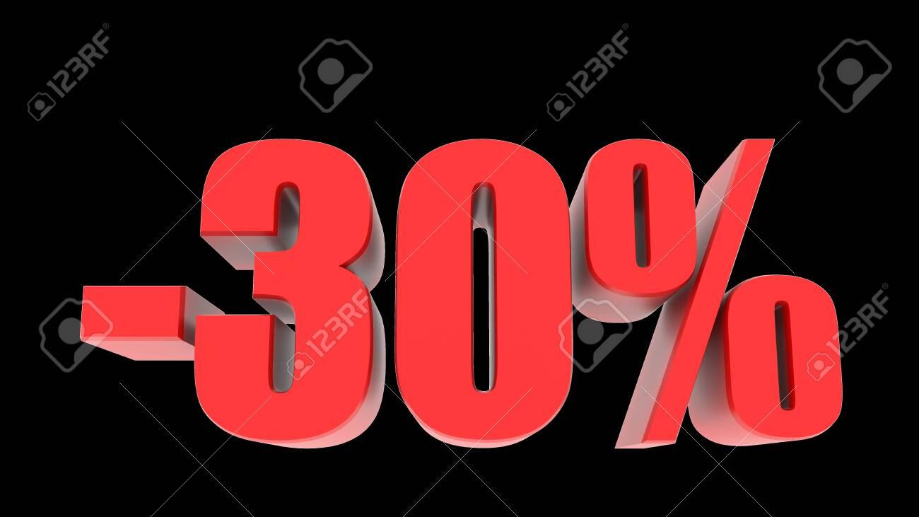 -30 percent off discount promotion sale. 3D Render. - 136237067