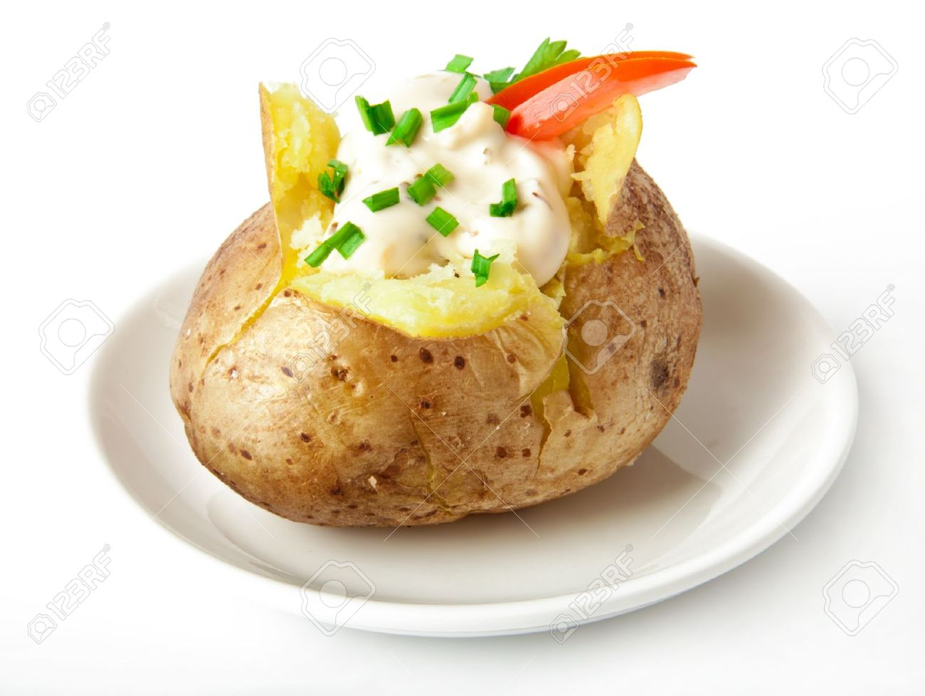 Baked potato filled with sour cream - 14117711