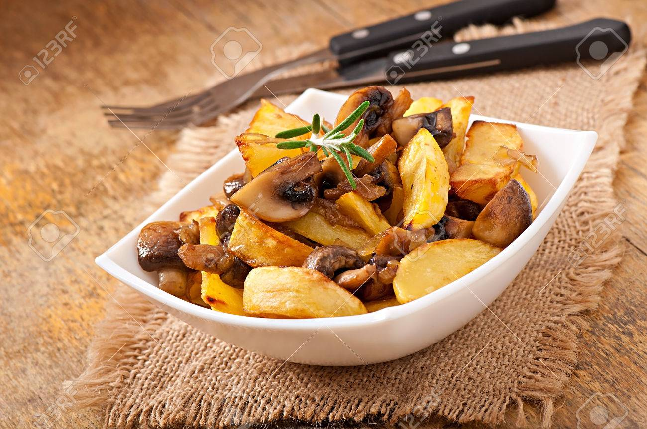 Fried Potatoes With Mushrooms And Onions Stock Photo 22602268