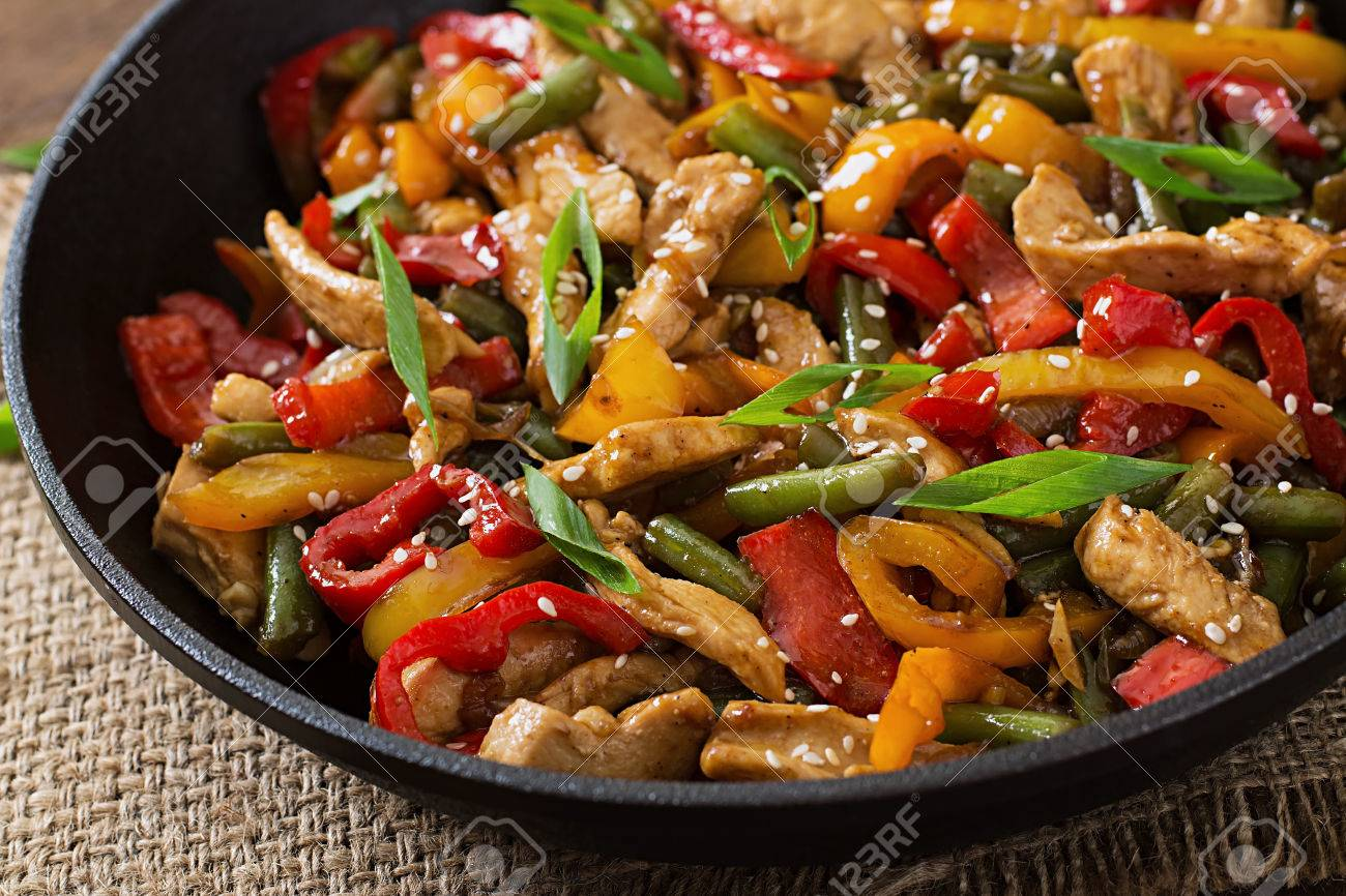 Stir Fry Chicken Sweet Peppers And Green Beans Stock Photo 46015297