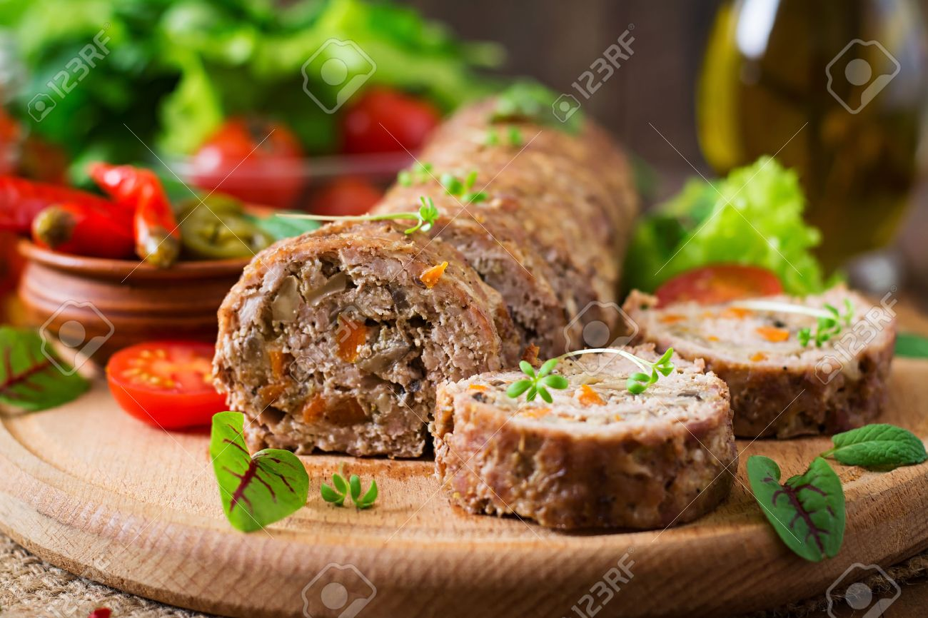 Mince meat roll or meat loaf 49