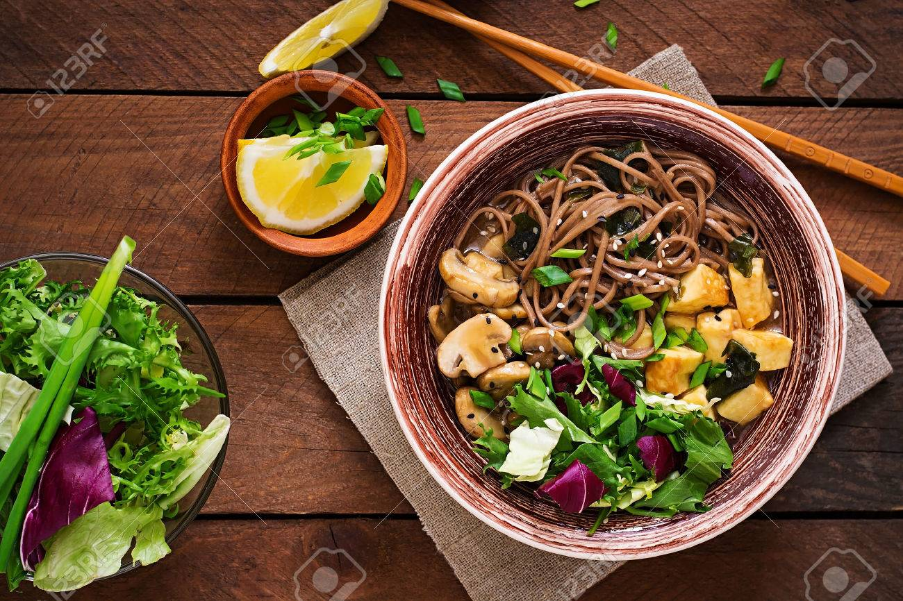 Miso And Soba Noodle Soup With Roasted Tofu Mushrooms Top View