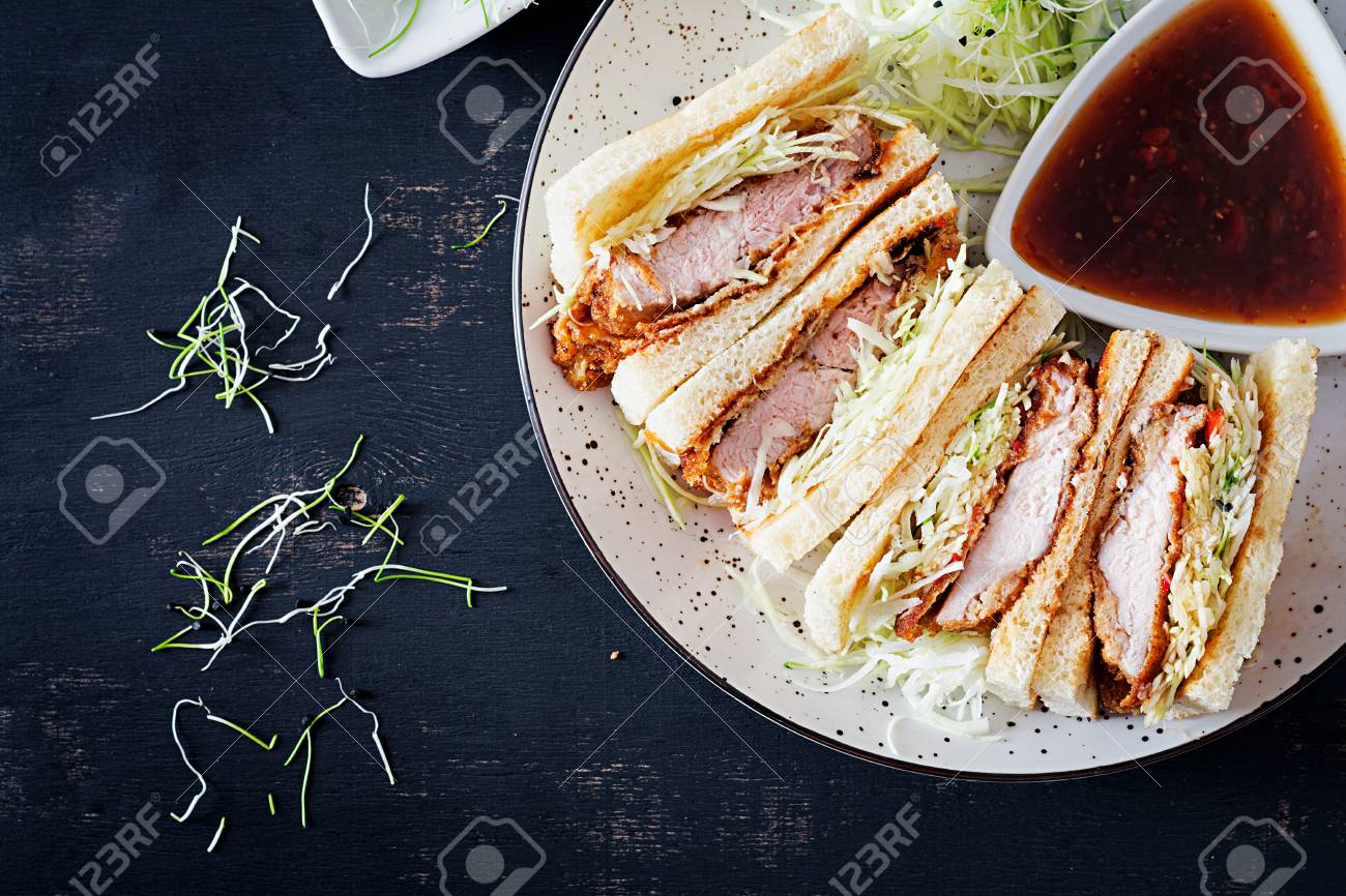 Katsu Sando Food Trend Japanese Sandwich With Breaded Pork Stock Photo Picture And Royalty Free Image Image 116755000