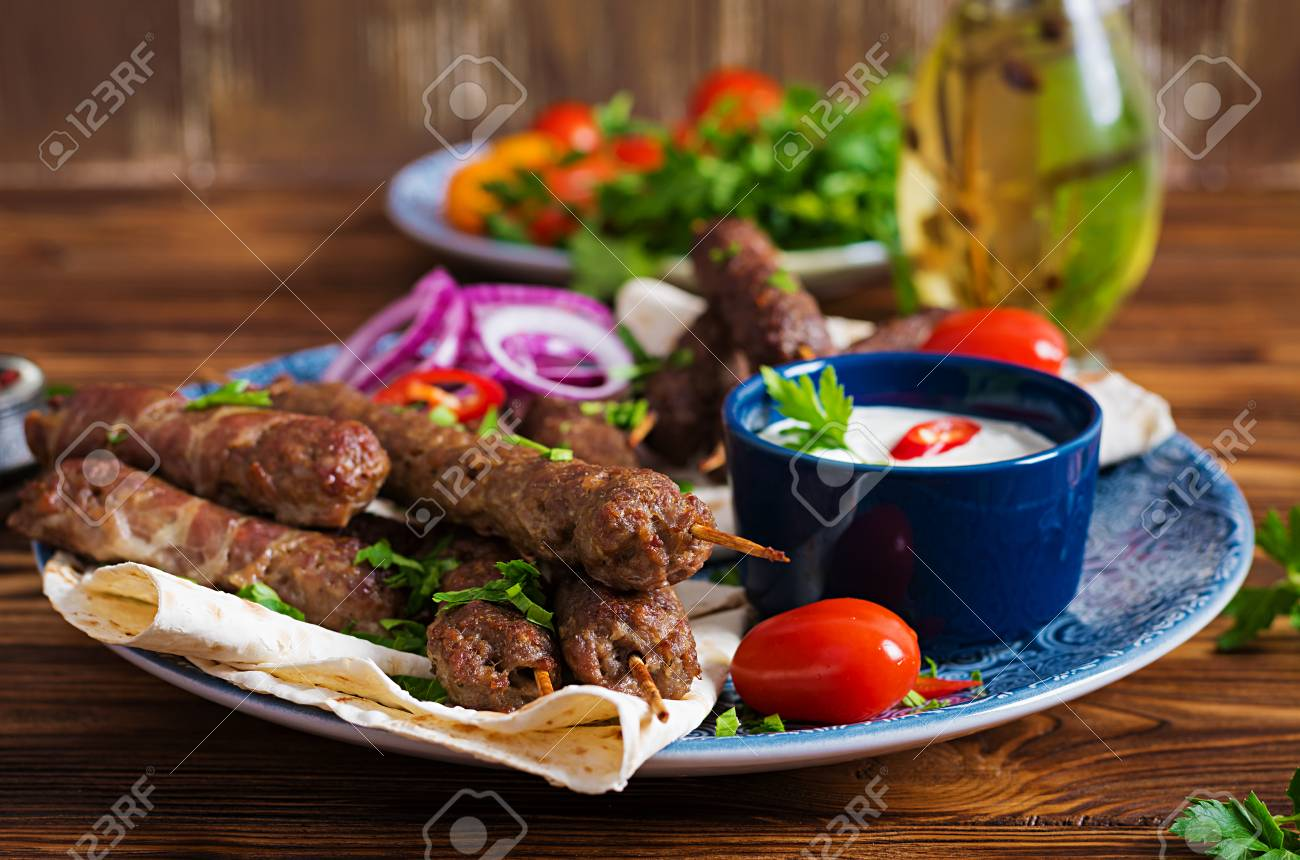 Turkish And Arabic Traditional Ramadan Mix Kebab Plate Kebab Stock Photo Picture And Royalty Free Image Image 119722342