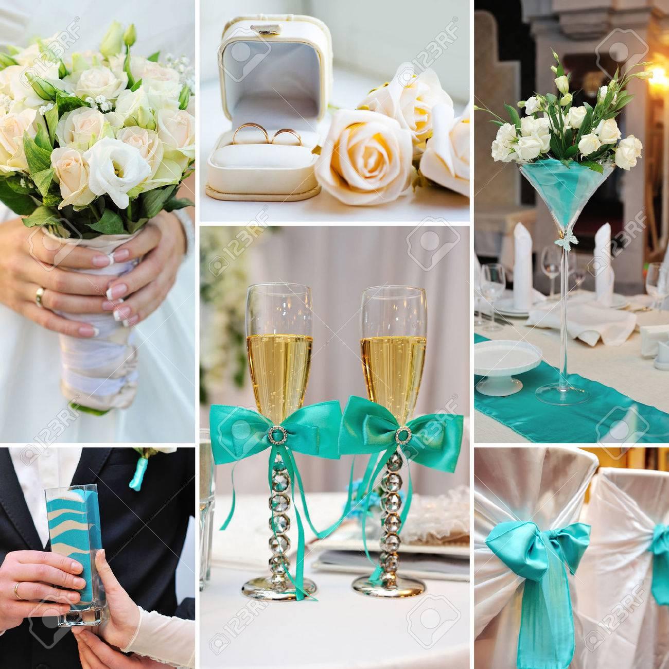 collage de fotos de la boda en color turquesa colores azules foto de archivo
