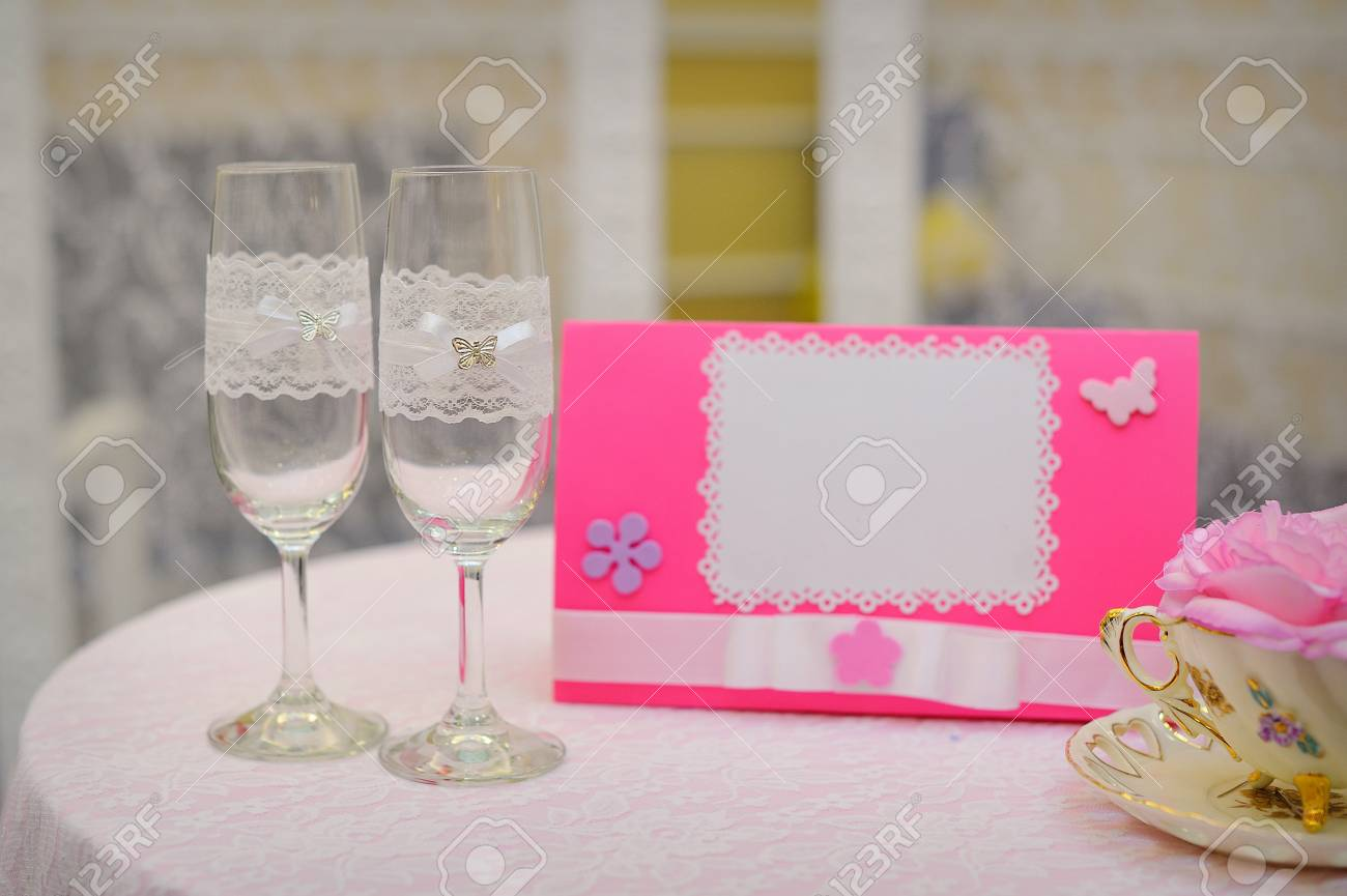 Pair Of Wedding Wineglasses On The Table. Stock Photo, Picture And ...