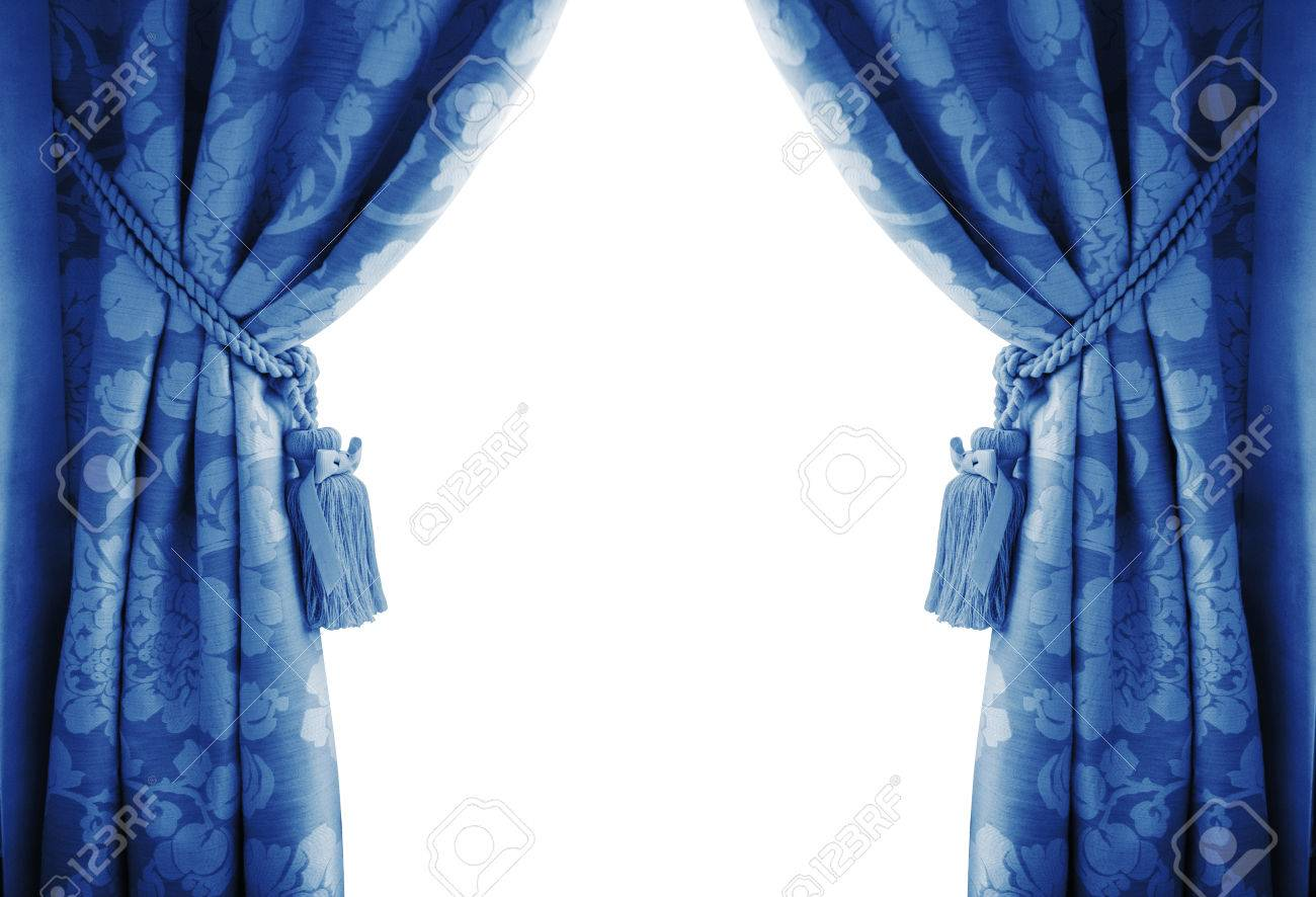 Blue Curtains On A White Background. Stock Photo, Picture And