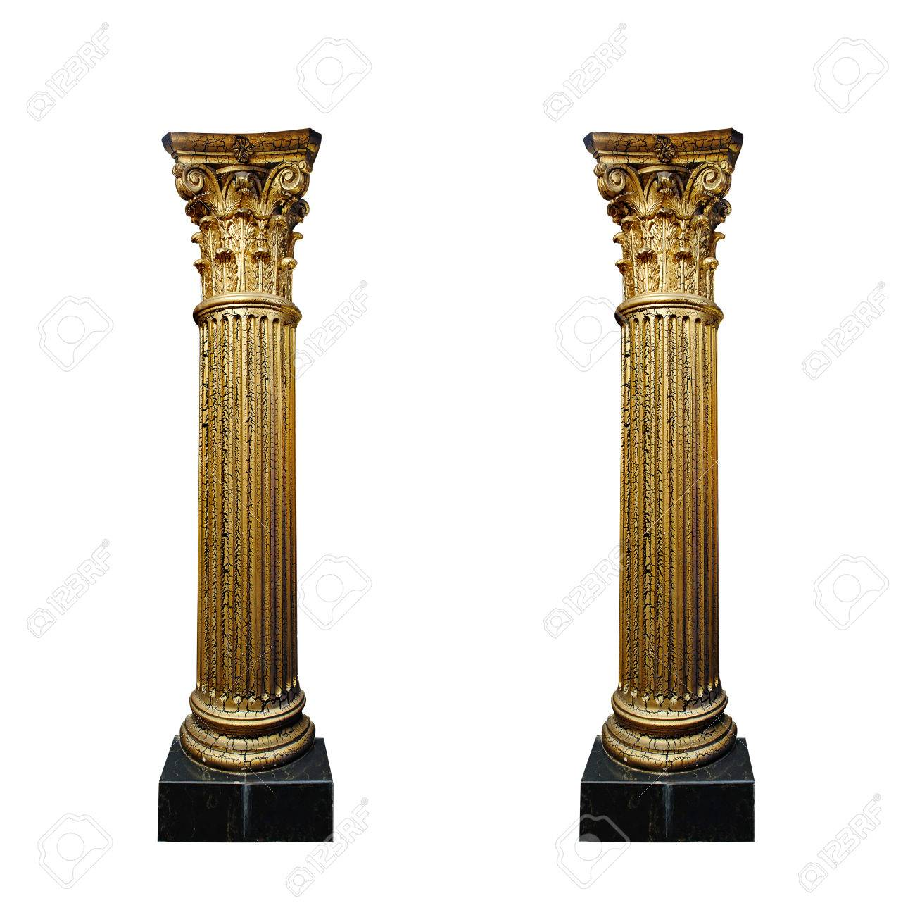 two gold columns isolated on white background. - 41863808