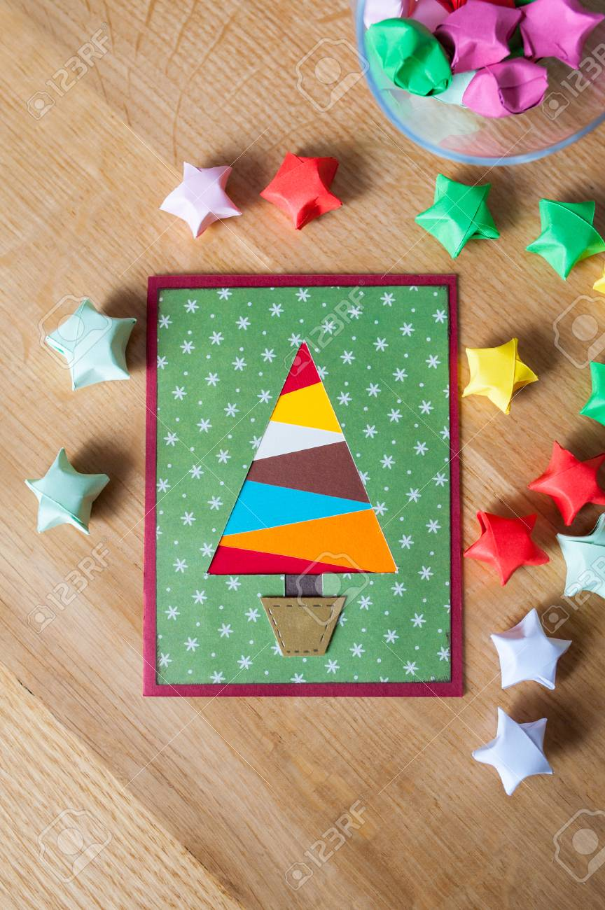 Multi-colored Christmas Tree And Stars. Stock Photo, Picture And ...
