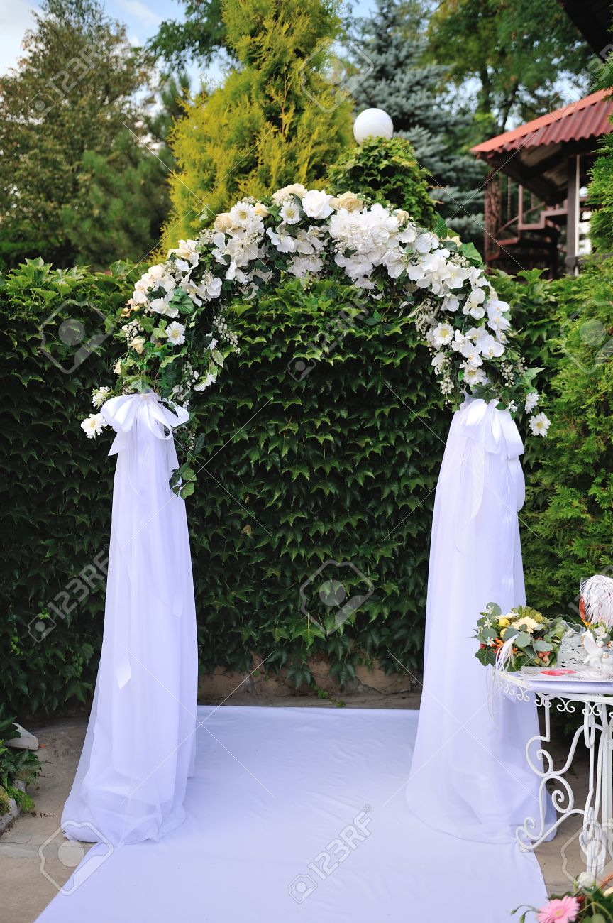 Wedding Arch With White Flowers For Ceremony Stock Photo Picture