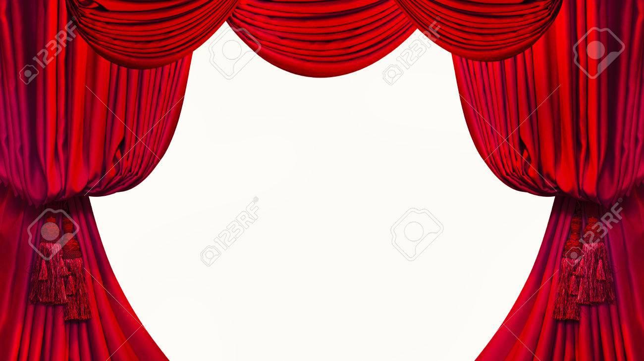 cepillo en las cortinas rojas sobre fondo blanco foto de archivo