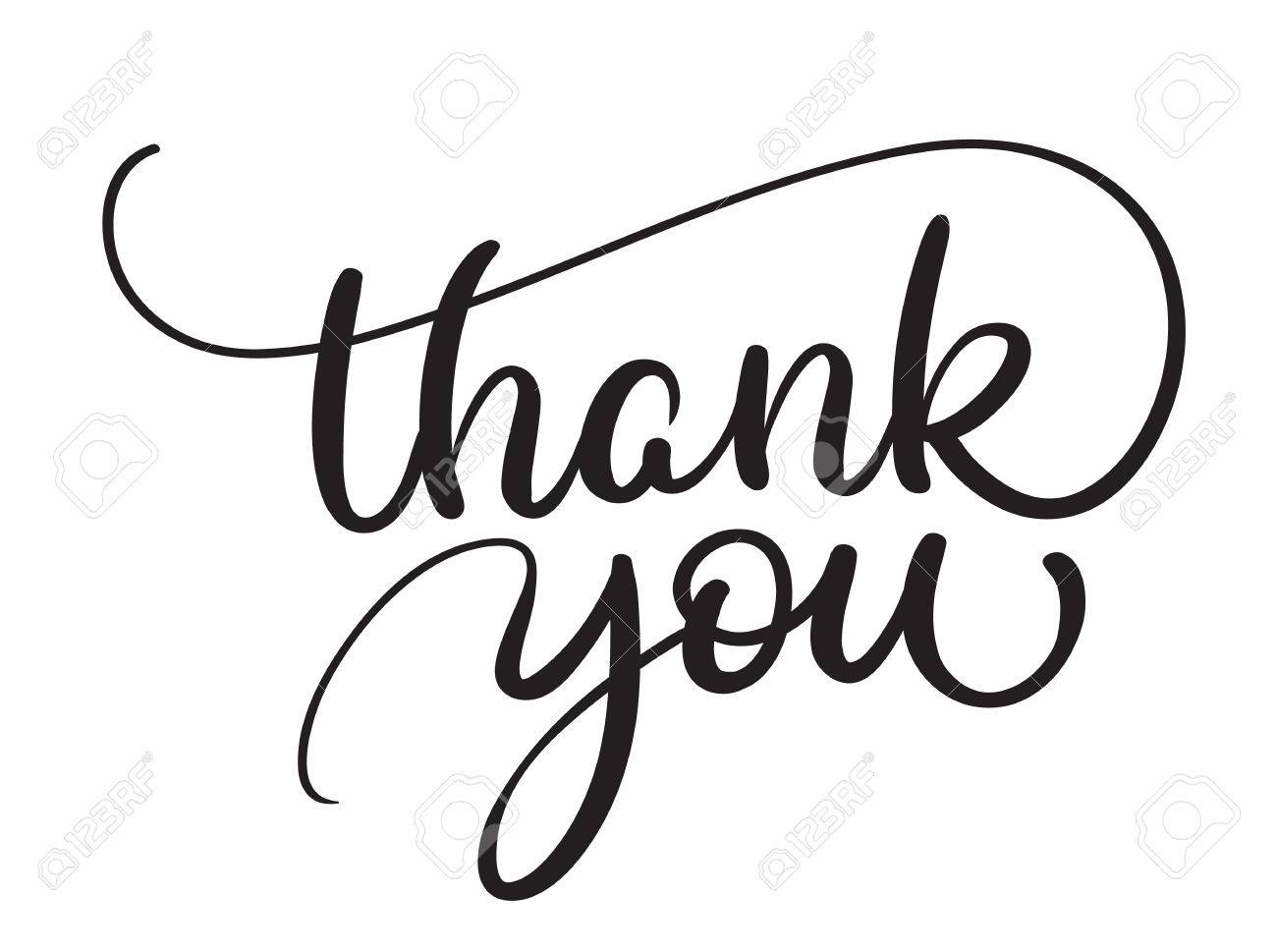 Thank you text on white background. Calligraphy lettering Vector illustration EPS10 - 74417439