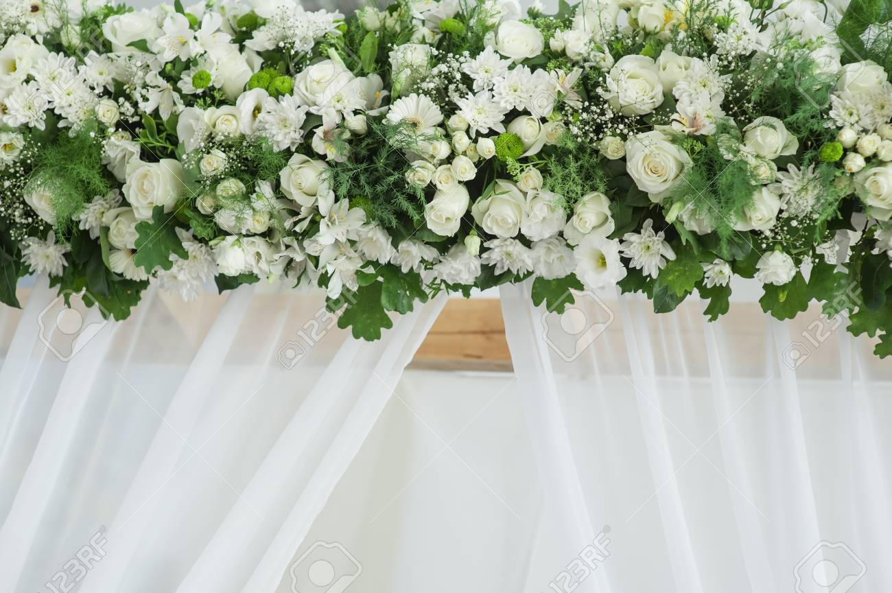 Decor Of White Flowers On The Wedding Arch Stock Photo Picture And