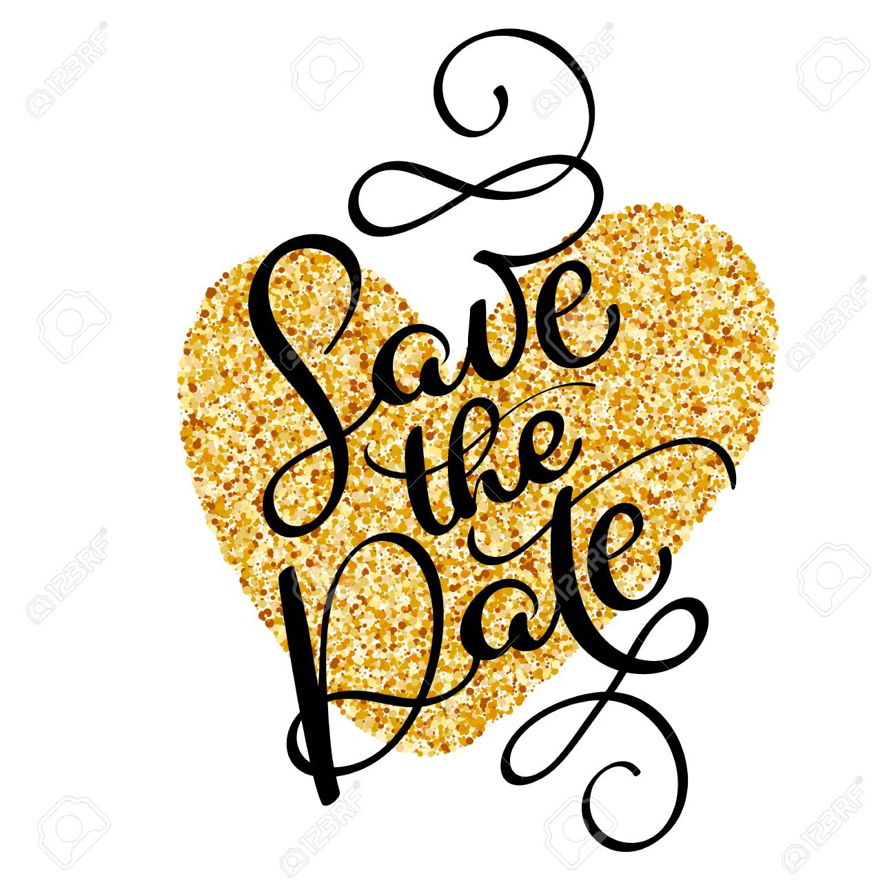 011065ac88b18 Save the date text calligraphy on a background of a golden heart...