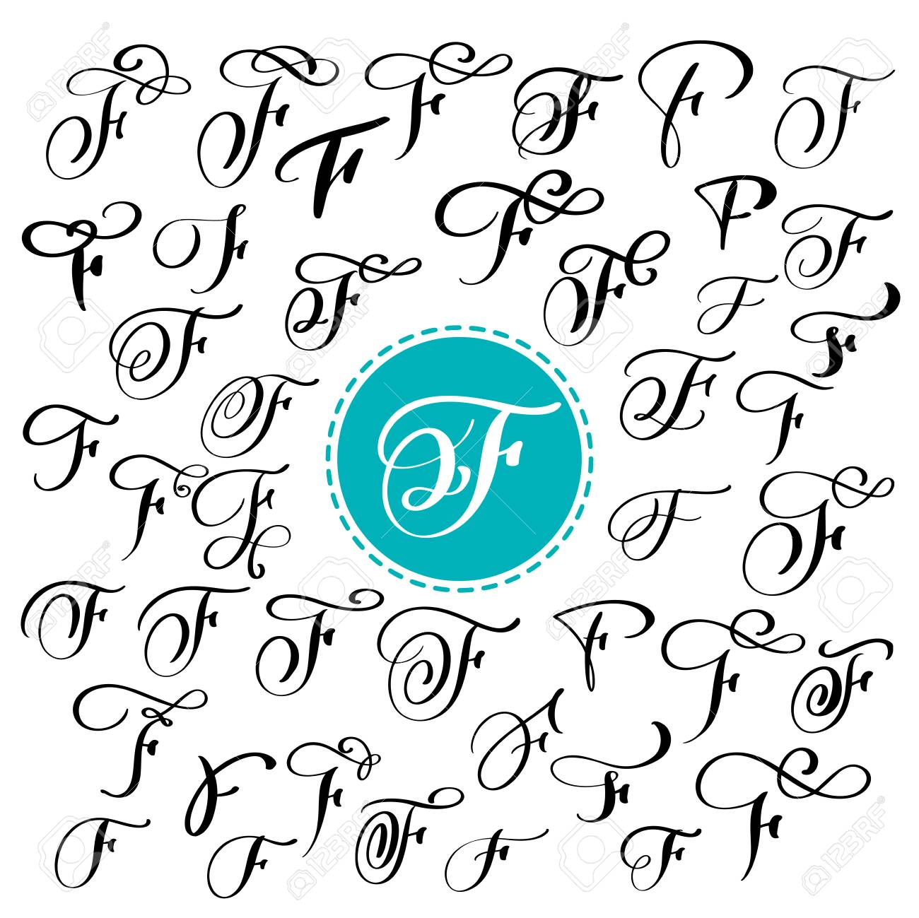 Set Of Hand Drawn Vector Calligraphy Letter F. Script Font