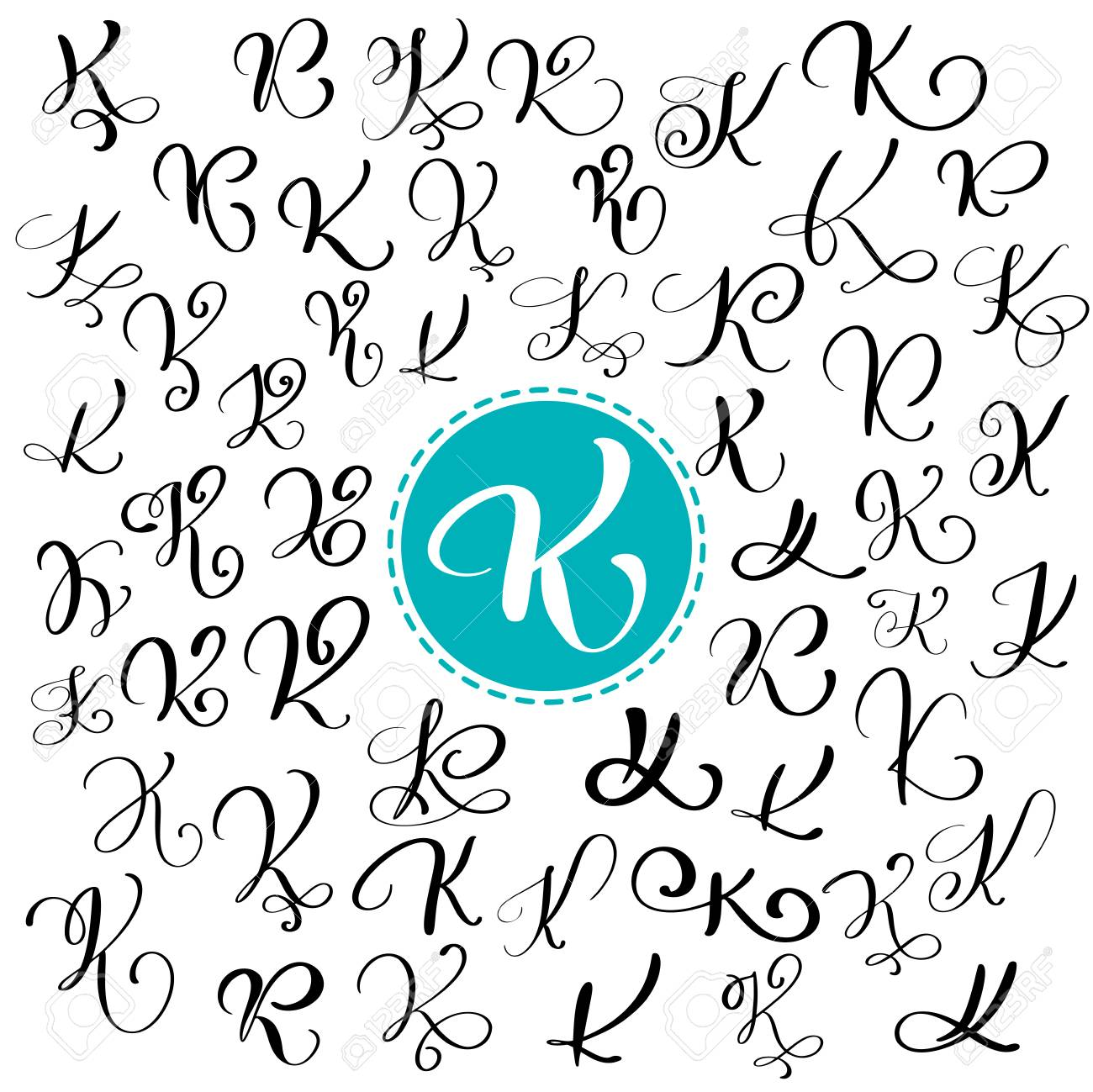 Set Of Hand Drawn Vector Calligraphy Letter K Script Font Isolated