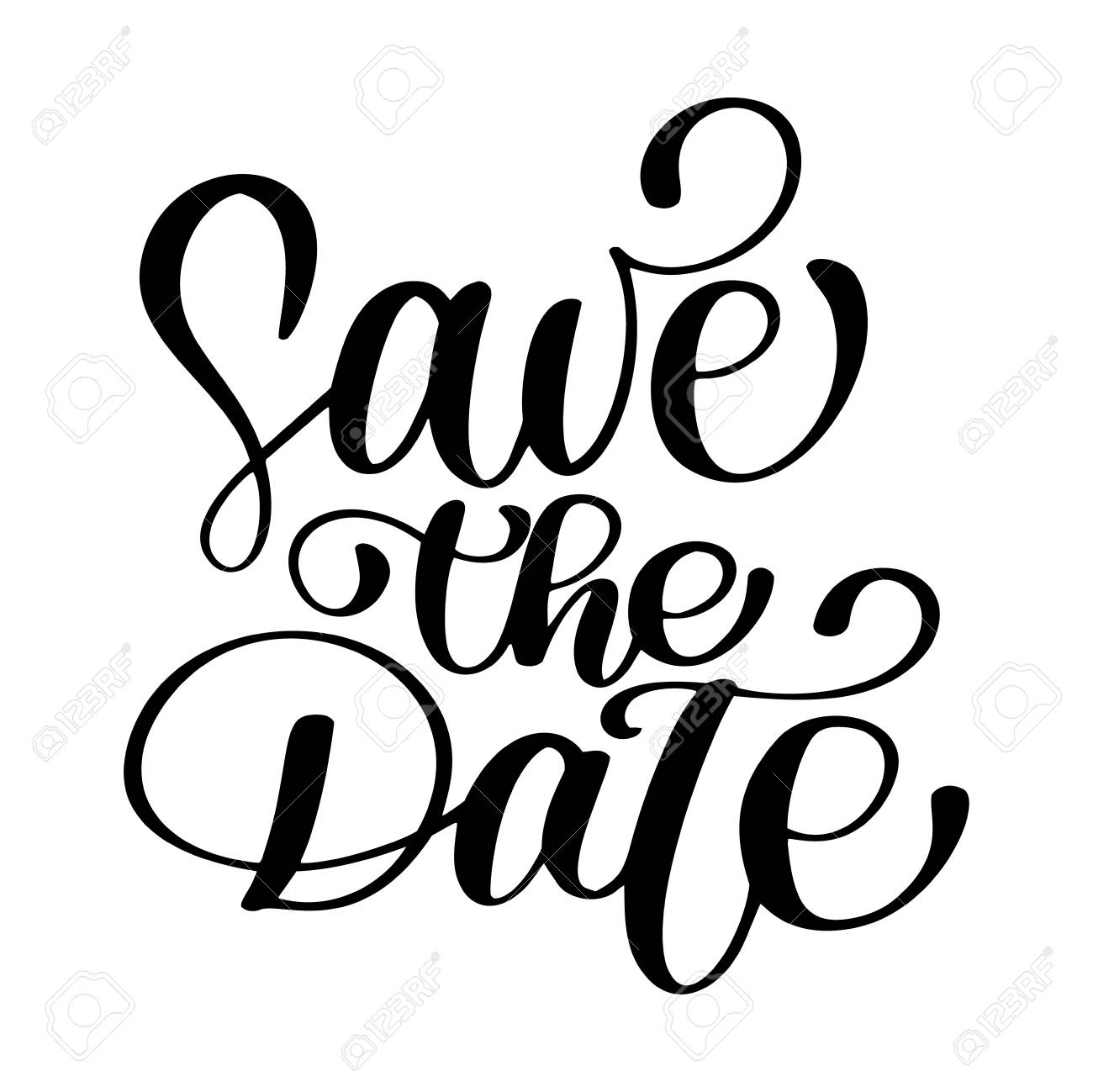 save the date text calligraphy vector lettering for wedding or rh 123rf com