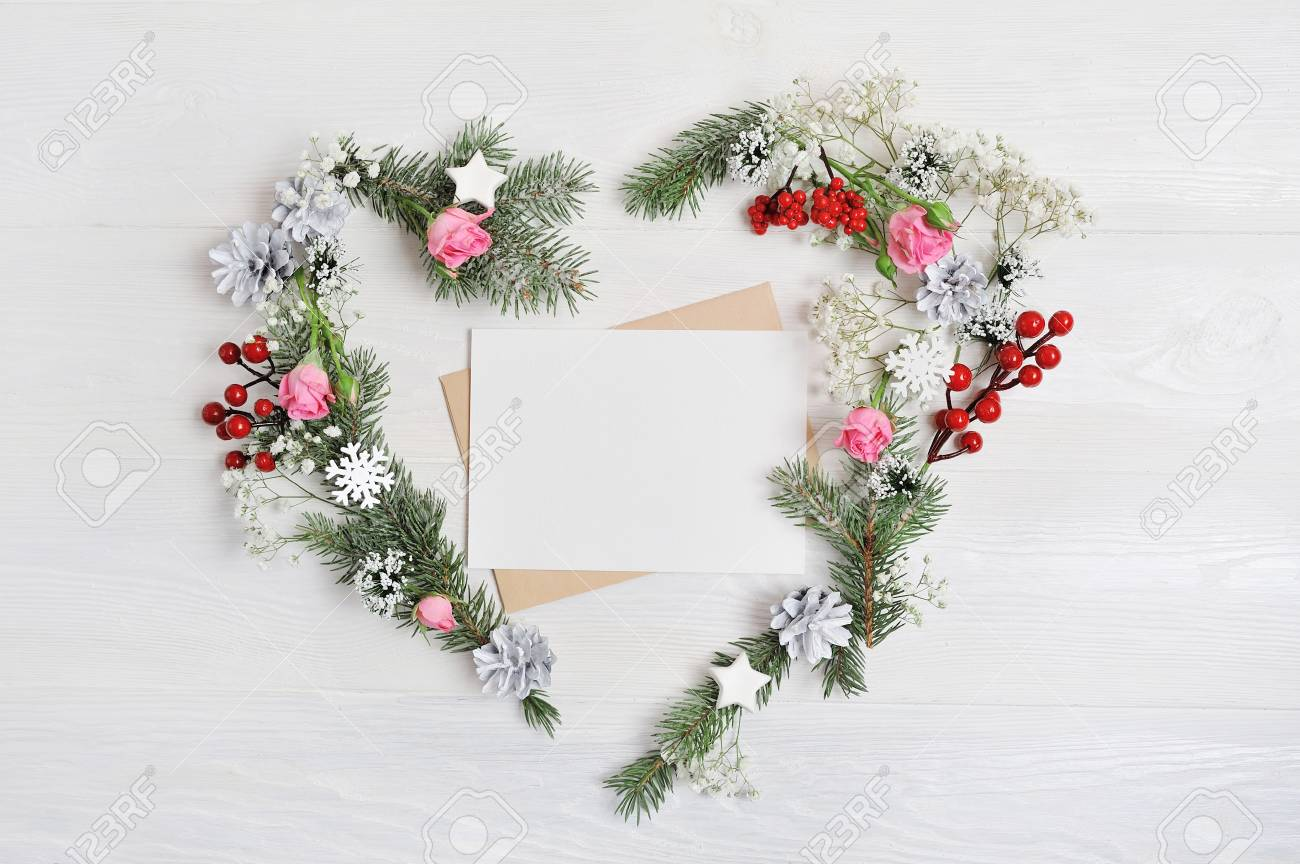 Christmas Heart Wreath.Mockup Christmas Heart Wreath With Letter In Rustic Style With