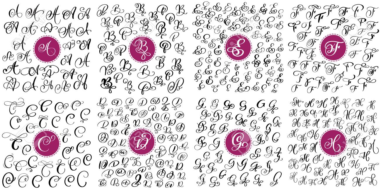 Set Of Hand Drawn Vector Calligraphy Letters A B C D E